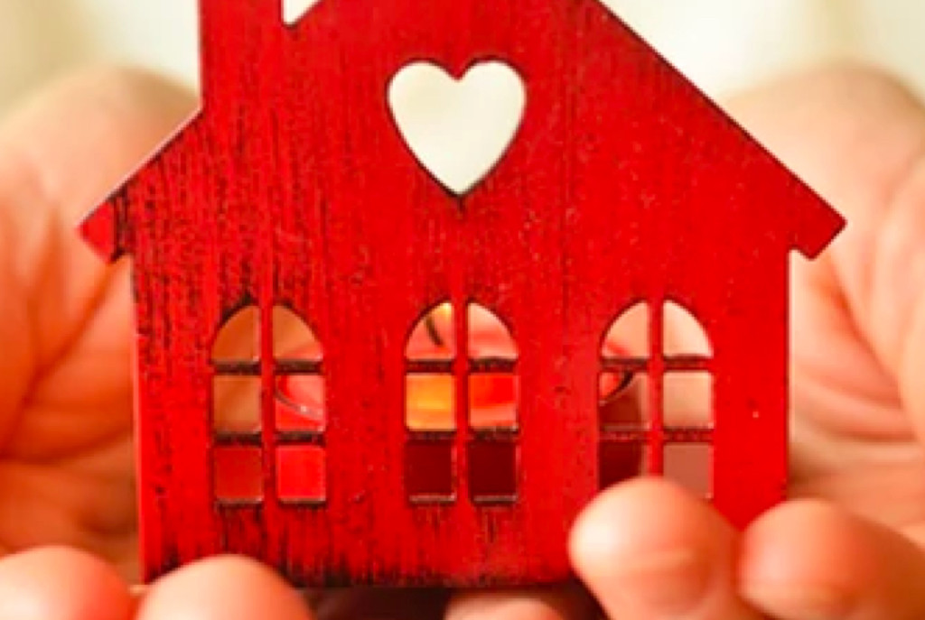 Small red wooden house