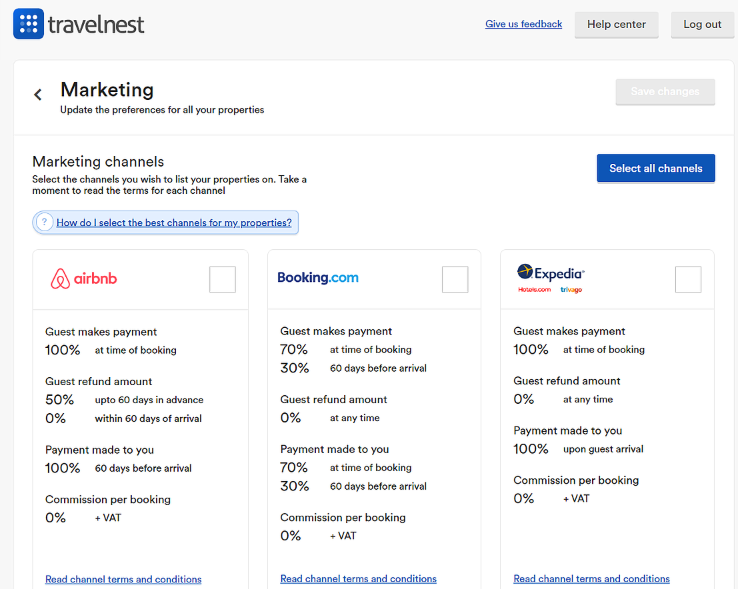 Marketing channels selection in the TravelNest account