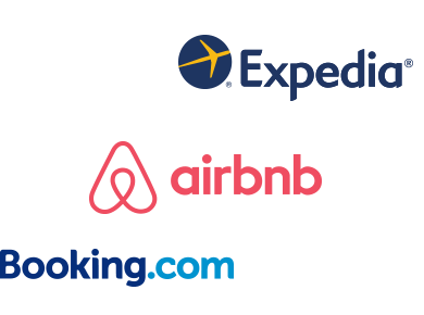 Airbnb, Booking.com and Expedia logos