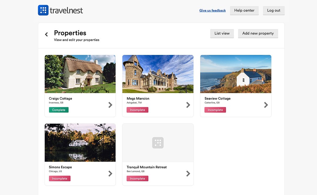 The single property profile feature in the TravelNest account