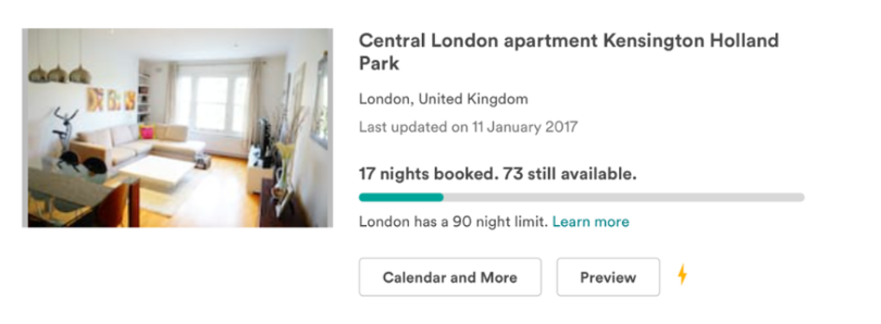 Airbnb property showing the 'nights booked' counter
